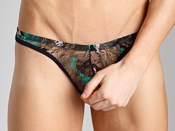 Tulio Camouflage Lace Power Pouch Thong Green