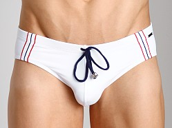 Tulio Supplex Embroidered Striped Bikini White