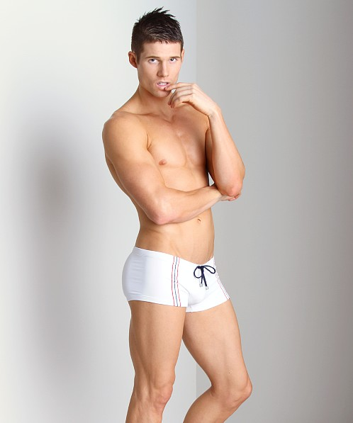 Tulio Supplex Embroidered Striped Trunk White