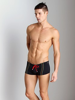 Tulio Supplex Embroidered Striped Trunk Black