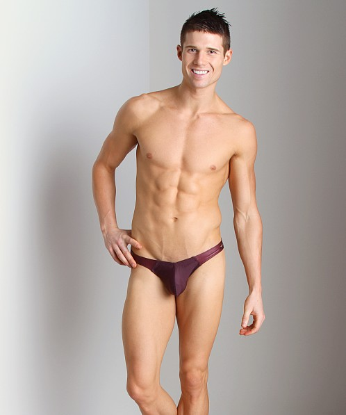 Tulio Cire Panel Power Pouch Swim Thong Burgundy