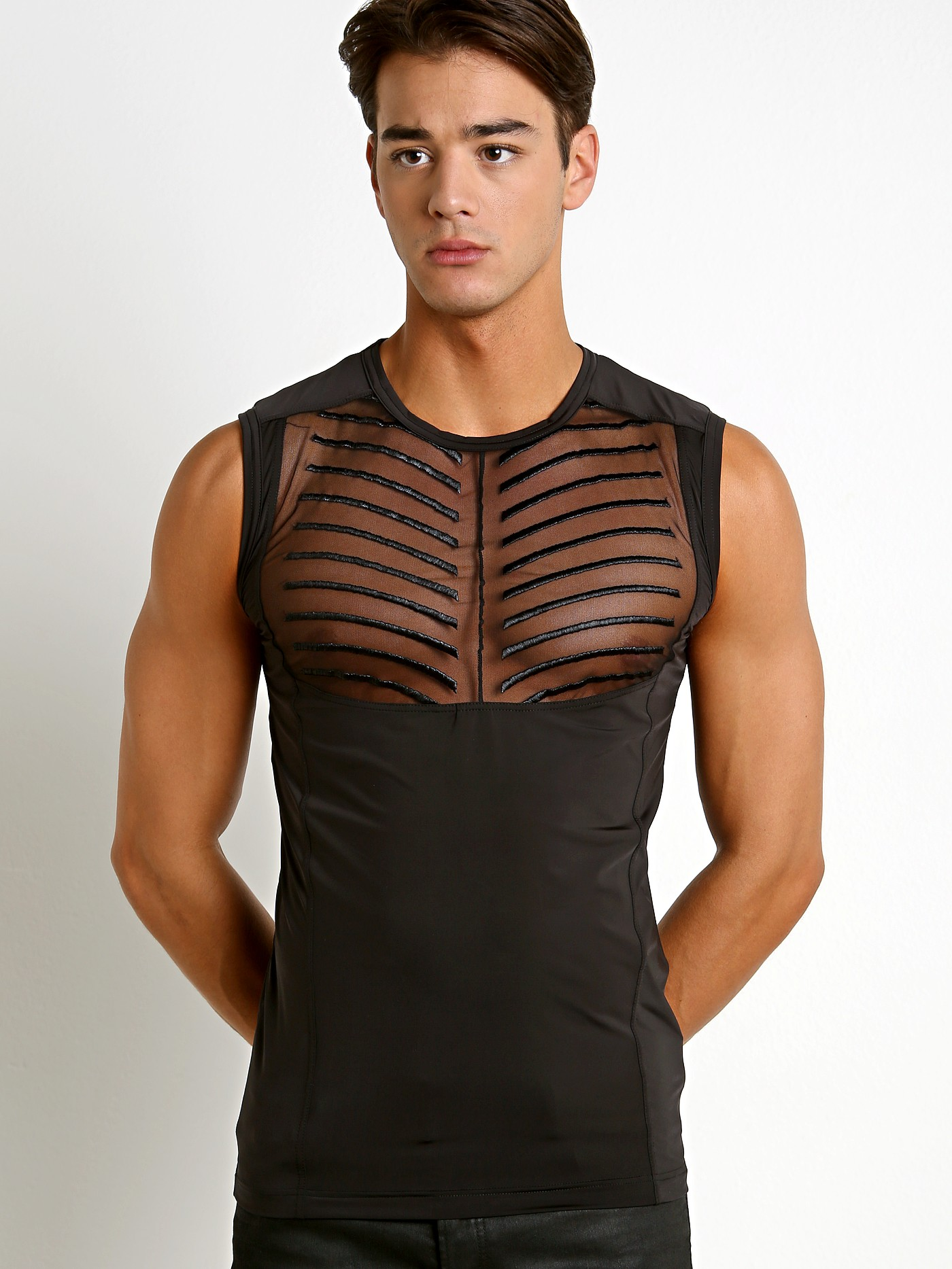 054f665a Gregg Homme Soiree Microfiber Mesh Muscle Shirt Black 150122 at  International Jock