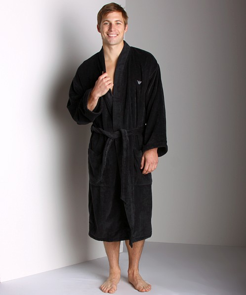 Emporio Armani Soft Terry Bathrobe Black