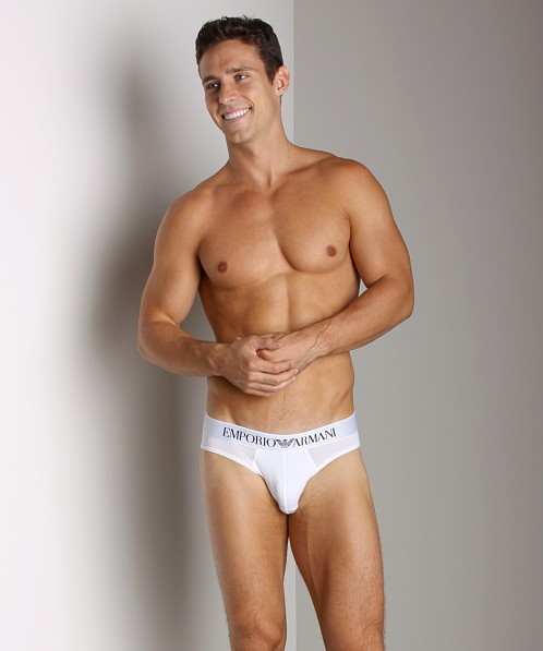 Emporio Armani Stretch Microfiber Hip Brief White