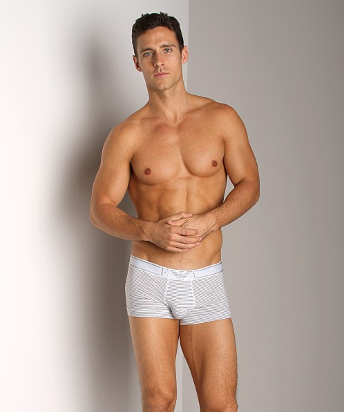 Emporio Armani Yarn Dyed Stretch Cotton Trunk White