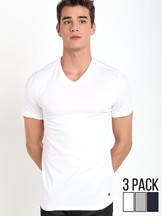 Tommy Hilfiger Cotton Classics V-Neck Shirt 3-Pack White/Grey/Na