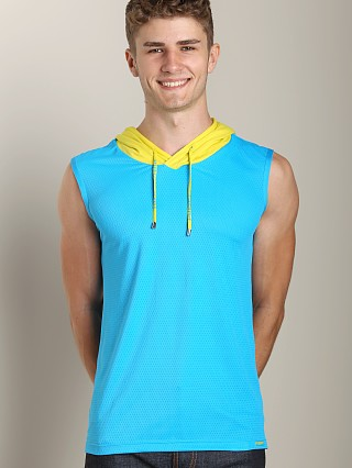 Pump Beach Hooded Mesh Tank Aqua