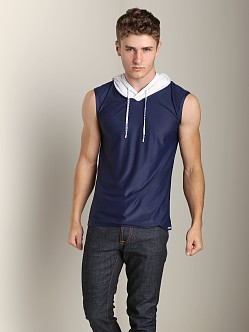 Pump Beach Hooded Mesh Tank Navy