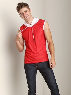 Pump Beach Hooded Mesh Tank Red