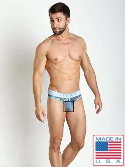 Pistol Pete Glitter Mesh Jock Brief Blue