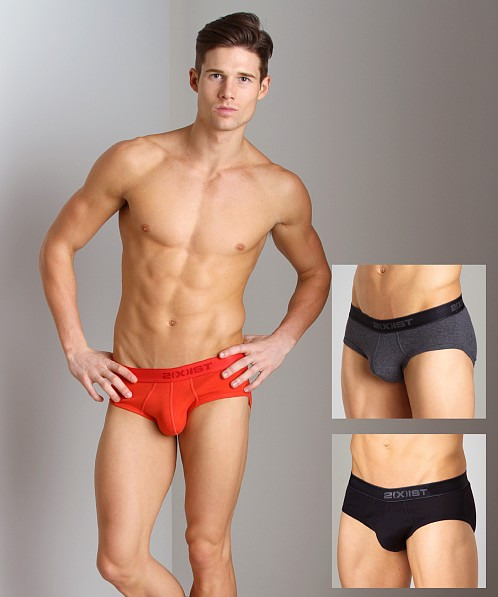 2xist 3-Pack Contour Pouch Briefs Black/Charcoal/Red
