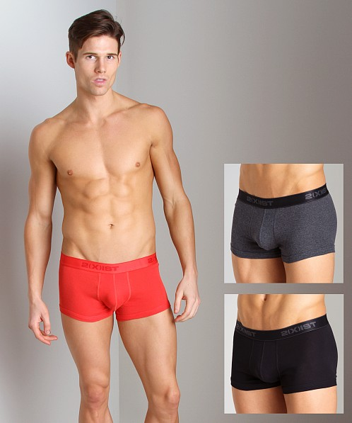 2xist 3-Pack No-Show Trunks Black/Charcoal/Red
