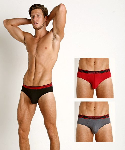 Emporio Armani Core Logoband Briefs 3-Pack Black/Ruby/Anthracite