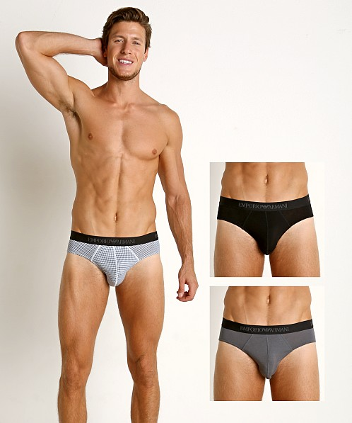 Emporio Armani Pure Cotton Briefs 3-Pack Black/Printed Black/Ant
