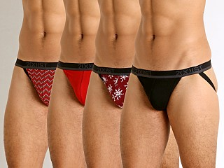 2xist Holiday 3+1 Jockstraps Holiday Flower/Salsa Red/Chevron S