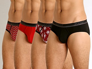 2xist Holiday 3+1 No-Show Briefs Holiday Flower/Salsa Red/Chevro