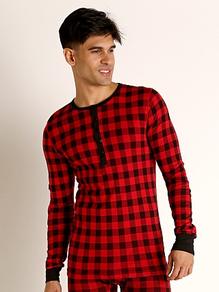 2xist Essential Long Sleeve Henley Buffalo Check Print