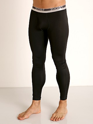 Model in black onyx 2xist Speed Dri Sterling Long Underwear