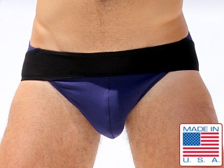 Rufskin Michel Rayon/Lycra Panel Brief Navy