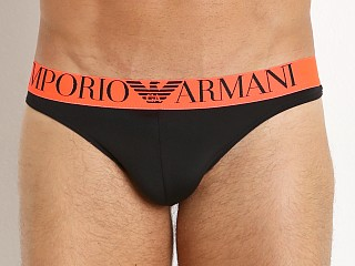 Emporio Armani Fluo Piping Microfiber Thong Black