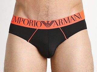 Emporio Armani Fluo Piping Microfiber Brief Black