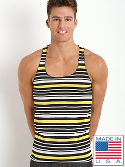 LASC Striped String Tank Top Black/White/Yellow