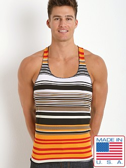 LASC Striped String Tank Top Orange/Black/Brown