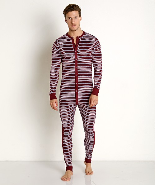 2xist Essential Union Suit Candy Cane/Tawny Port/White