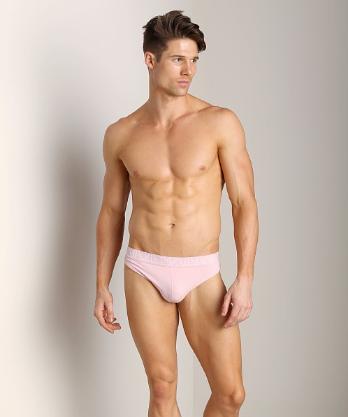 Emporio Armani Coloured Stretch Cotton Thong Pale Pink