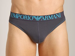 Emporio Armani Coloured Stretch Cotton Thong Charcoal