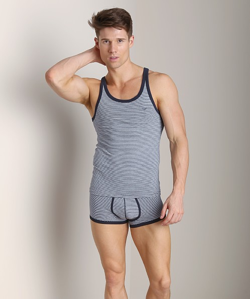 Emporio Armani Yarn Dyed Tank Top Marine/White