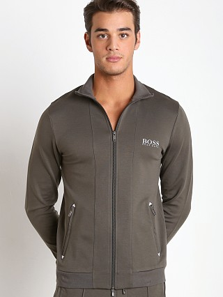 Model in dark green Hugo Boss Zipper Jacket