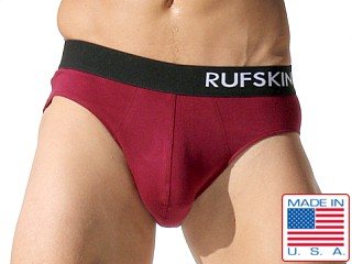 Rufskin Tino Cotton Spandex Bun Stitch Briefs Burgundy
