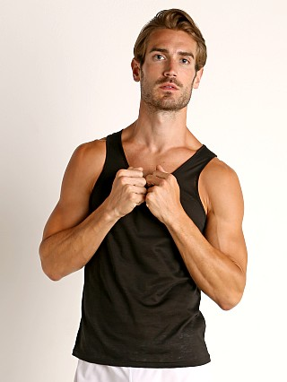 Model in black St33le Burnout Jersey Tank Top
