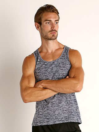 Model in navy St33le Burnout Jersey Tank Top