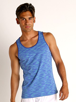 Model in royal/aqua St33le Space Dye Mesh Stretch Tank Top