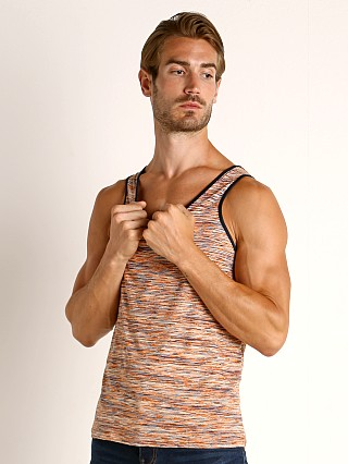 Model in orange/white St33le Space Dye Mesh Stretch Tank Top