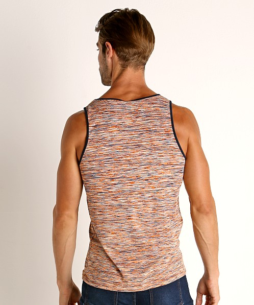 St33le Space Dye Mesh Stretch Tank Top Orange/White