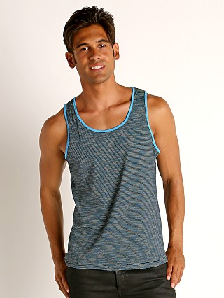 Model in cyan/navy St33le Space Dye Mesh Stretch Tank Top