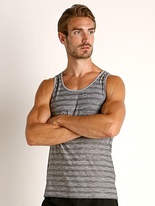 Model in grey St33le Engineered Stripes Performance Tank Top