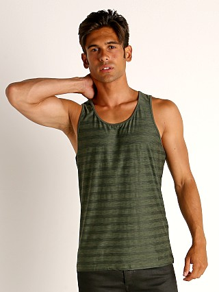 Model in army St33le Engineered Stripes Performance Tank Top