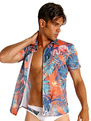 Model in flamingo orange Timoteo Riviera Mesh Shirt