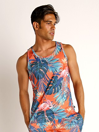 Model in flamingo orange Timoteo Riviera Mesh Tank Top