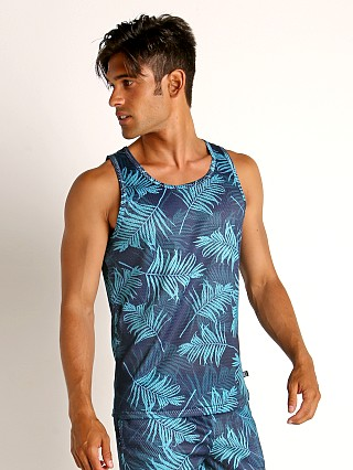 Model in palm print green Timoteo Riviera Mesh Tank Top
