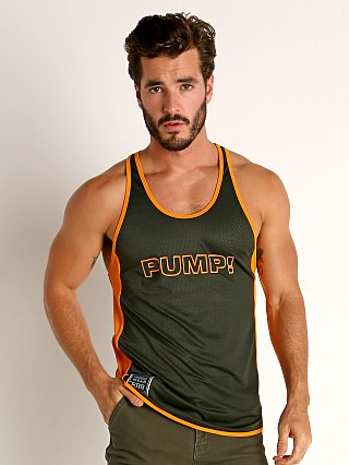 Model in army/orange Pump! Squad Mesh Deep Tank