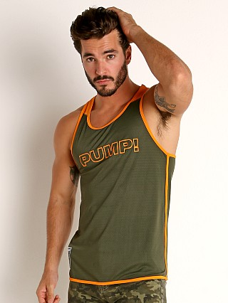 Model in army/orange Pump! Squad Mesh Tank