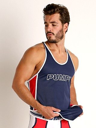 Model in navy/red/white Pump! Academy Mesh Deep Tank