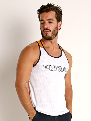 Complete the look: Pump! Varsity Tank White/Orange