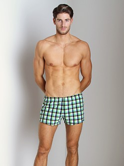 Sauvage Como Italia Plaid Dots Swim Trunk Lime