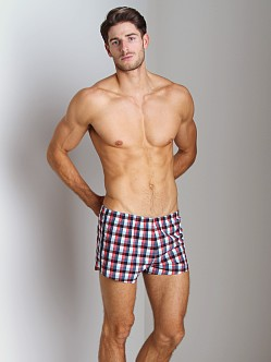 Sauvage Como Italia Plaid Dots Swim Trunk Red